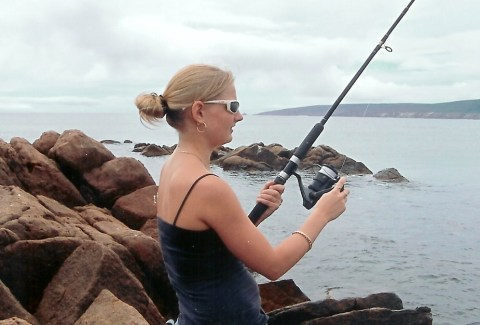 Girl Fishing.