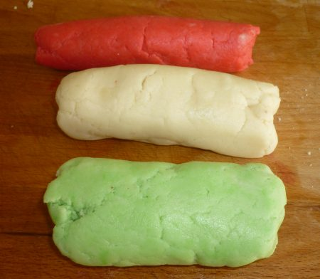 Food coloured marzipan.