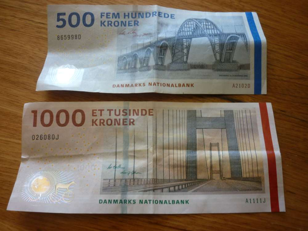 Danish notes 500 and 1000 Kr.