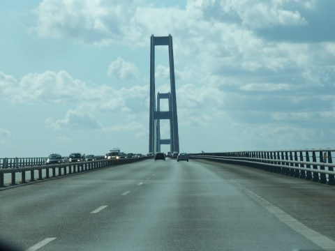 Crossing The Big Belt Bridge in Denmark.