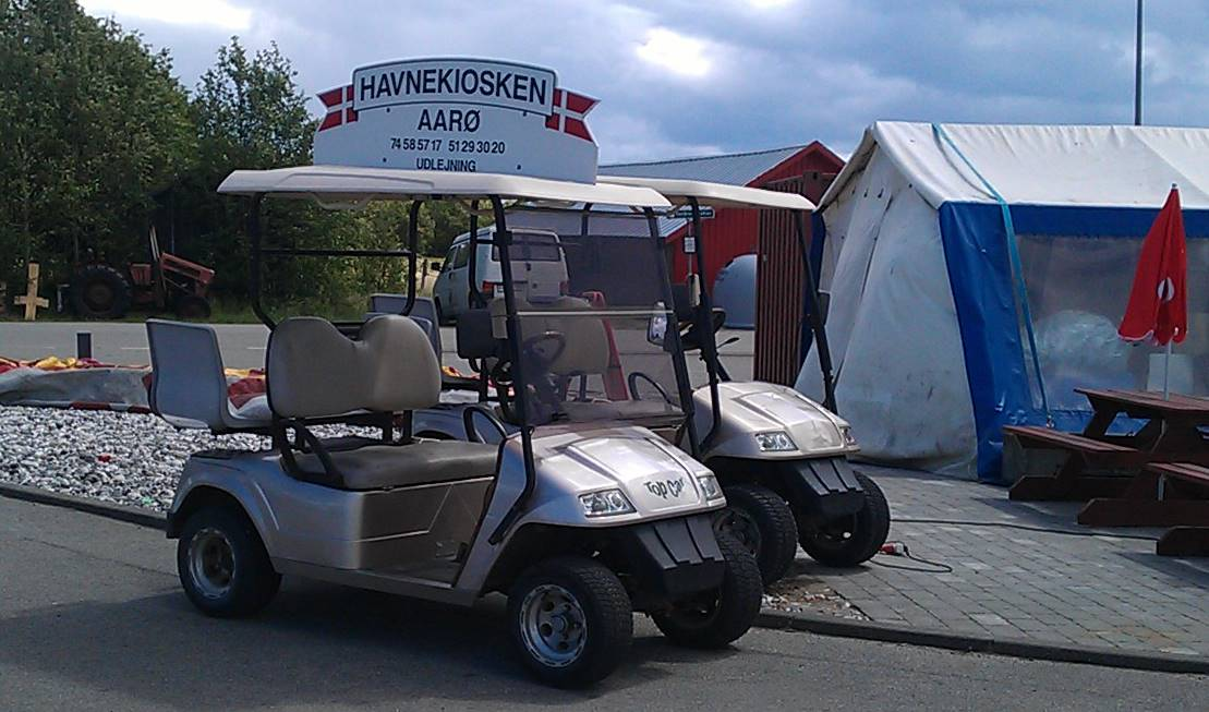 Golfcarts for rent on Aaro, Denmark.