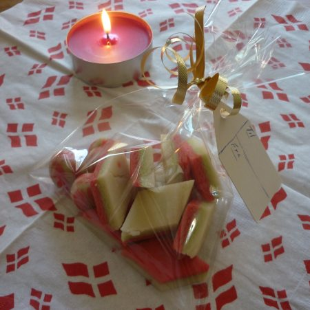Marzipan in gift bag.