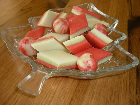 Christmas marzipan on a plate.