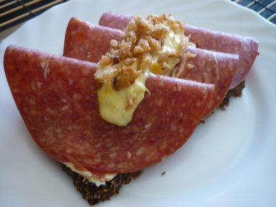 Danish open sandwich with Salami and Remulade.